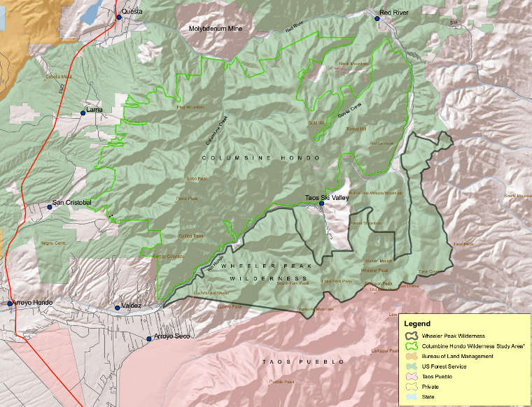Map of Columbine-Hondo Wilderness