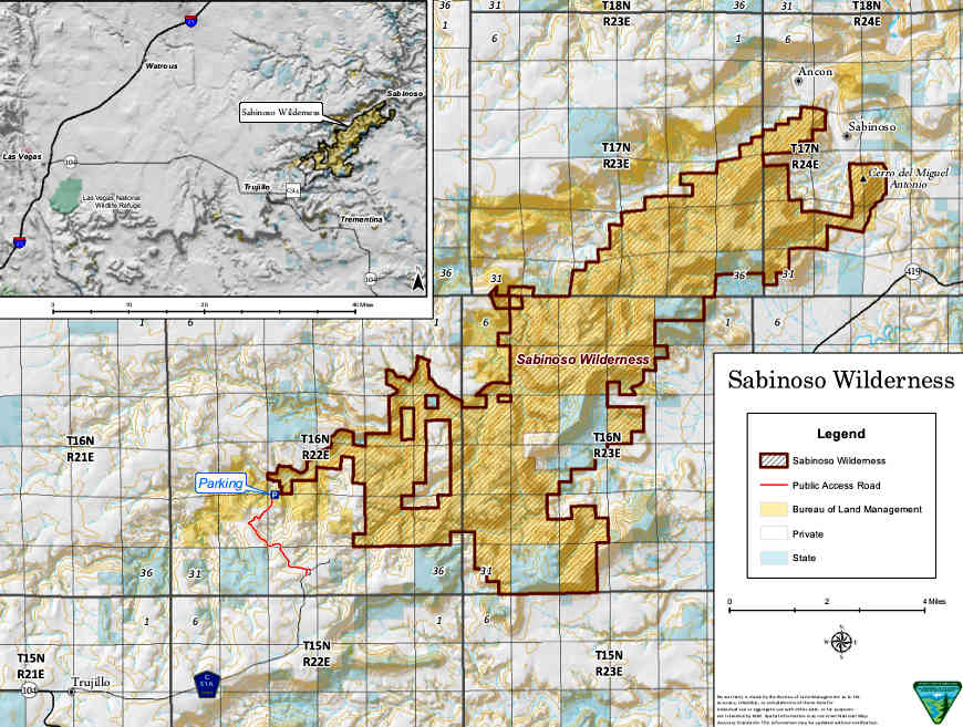 Map of Sabinoso Wilderness area