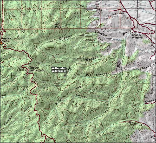 Withington Wilderness map
