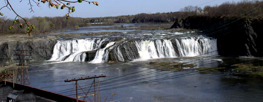 Looking down on Cohoes Falls along the Mohawk Towpath Byway
