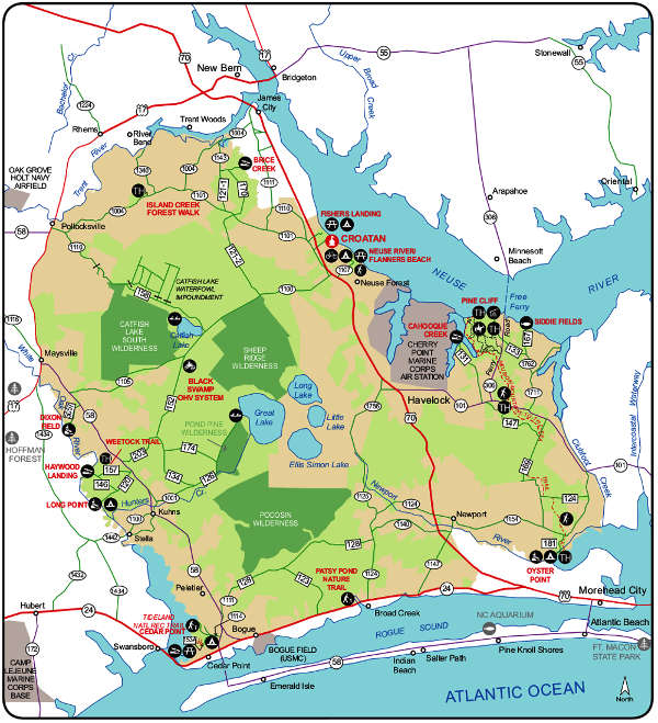 Map of Croatan National Forest