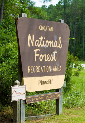 Sign marking a recreation area in Croatan National Forest