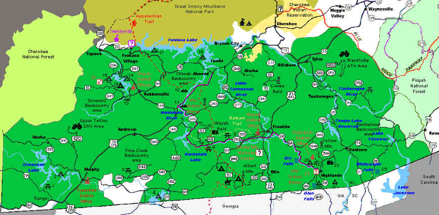 Map of the Nantahala National Forest area