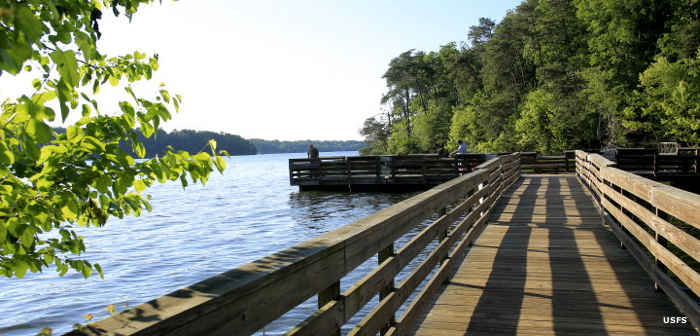 One of the accessible fishing docks at Kings Mountain Point