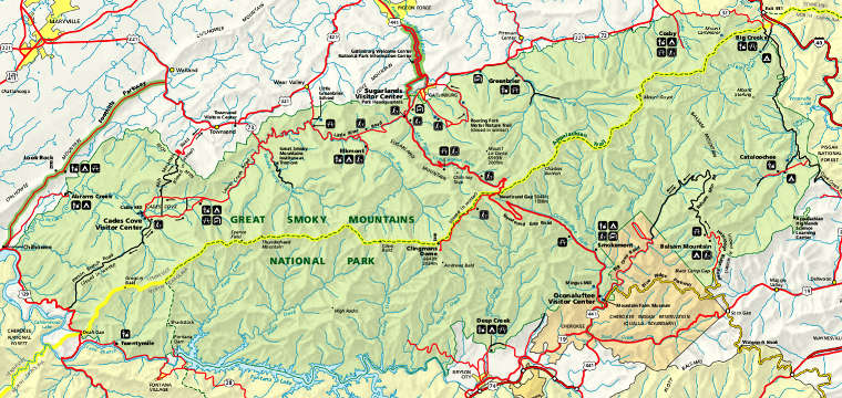 Map of Great Smoky Mountains National Park