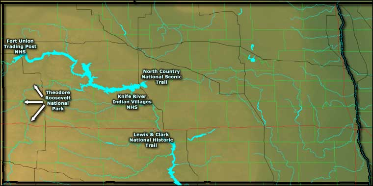 Locations of the National Park Service Sites in North Dakota