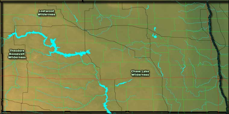 Map showing locations of North Dakota Wilderness Areas
