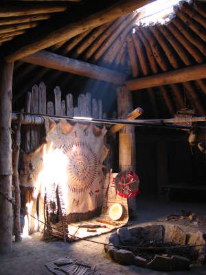 Inside the reconstructed Earthlodge at Knife River Indian Villages National Historic Site