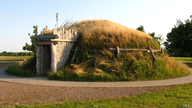 A reconstructed Earthlodge at Knife River Indian Villages National Historic Site