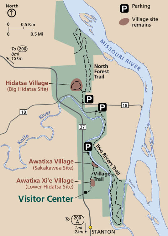 Map of Knife River Indian Villages National Historic Site