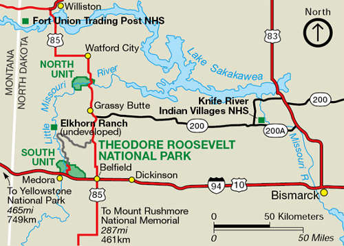 Map of the Theodore Roosevelt National Park area