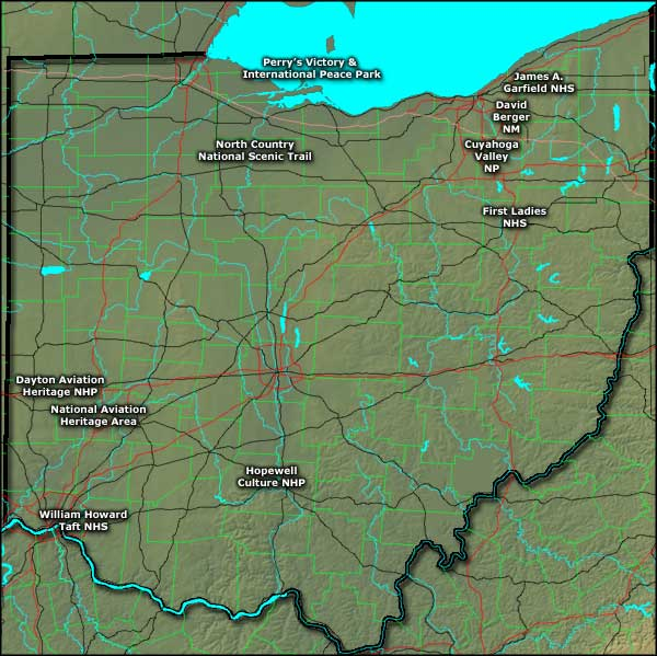 Location map of the National Park Service Sites in Ohio