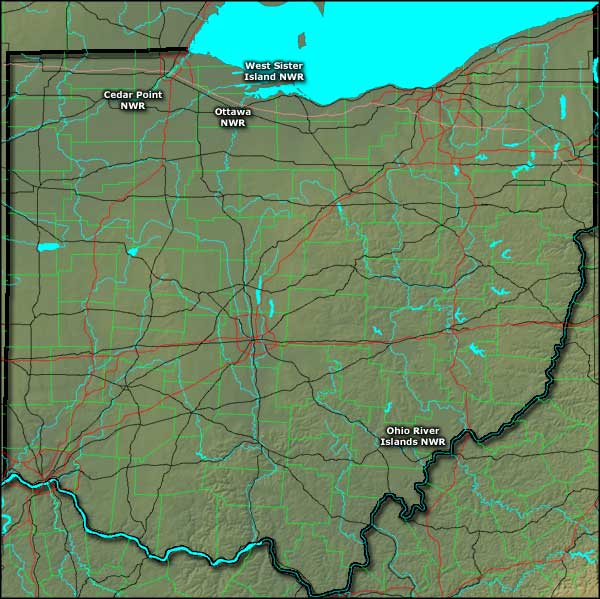 Locations of the National Wildlife Refuges in Ohio