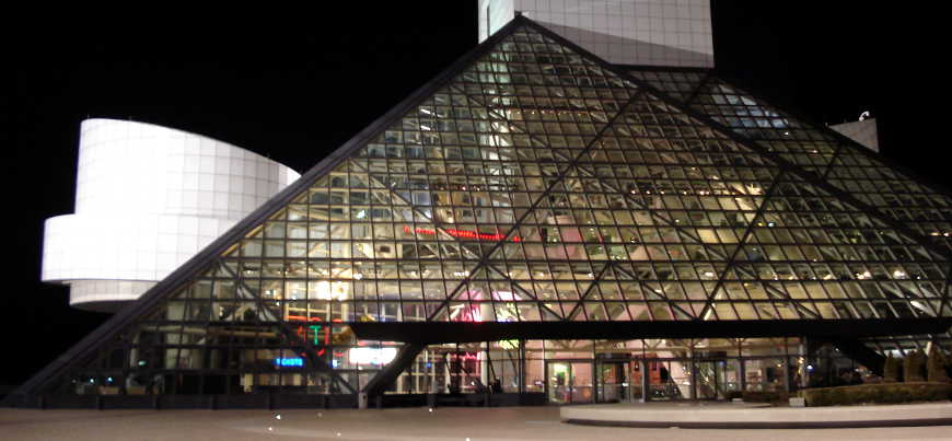 A night view of the Rock and Roll Hall of Fame in Cleveland