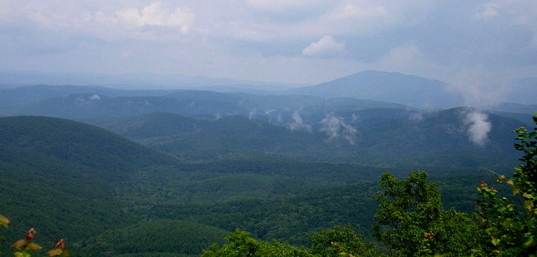 The Ouachita Mountains in southeastern Oklahoma