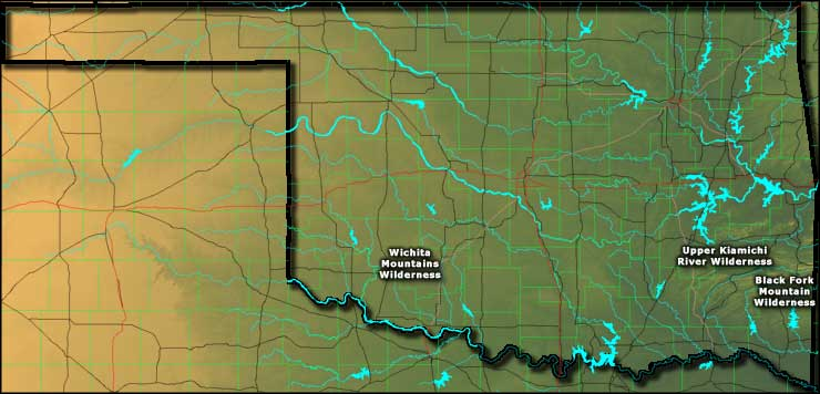 Locations of the National Wilderness Areas in Oklahoma