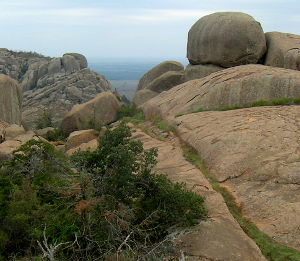 A boulder in the Wichita Mountains Wilderness of Oklahoma