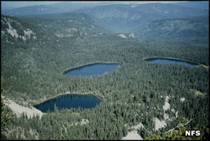 An aerial view including several of the Sky lakes in Sky Lakes Wilderness