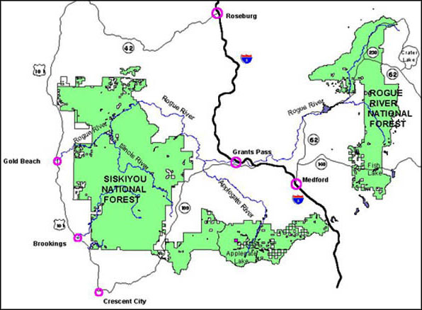 Map of Rogue River-Siskiyou National Forest