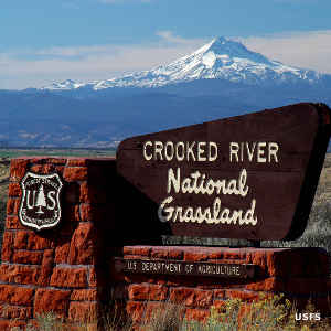 Sign marking Crooked River National Grassland