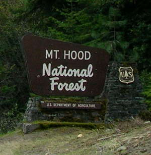 Boundary sign marking Mount Hood National Forest