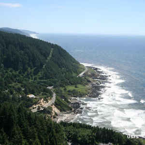 Looking south down the coast from the top of Cape Perpetua
