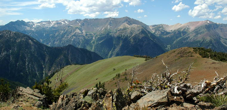 Looking down a grassy ridge and across a deep, steep canyon in the Wallowa Mountains