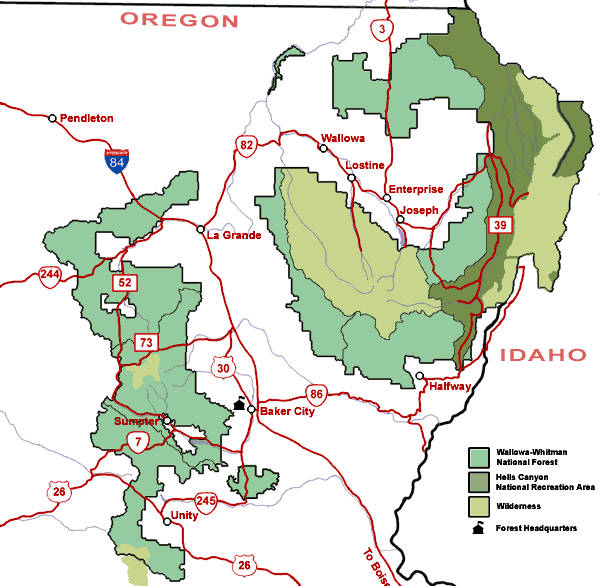 Map of the Wallowa-Whitman National Forest area