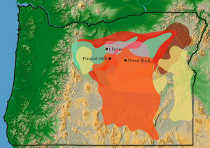 Map showing extent of the John Day Fossil Beds in eastern Oregon