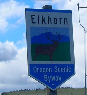 Sign marking the Elkhorn Scenic Byway
