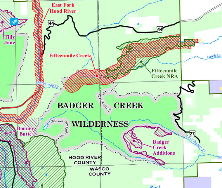 Map of the Badger Creek Wilderness area