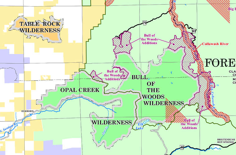 Map of Bull of the Woods Wilderness