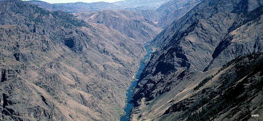 Looking down into Hells Canyon