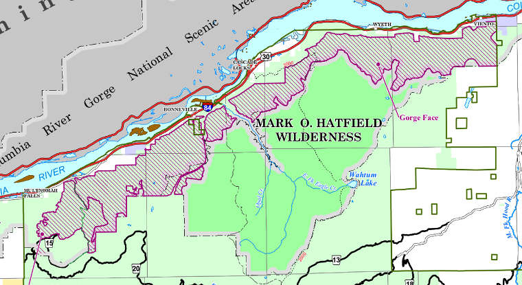 Map of the Mark O. Hatfield Wilderness area