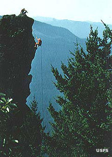 Climbers rappelling down Rooster Rock