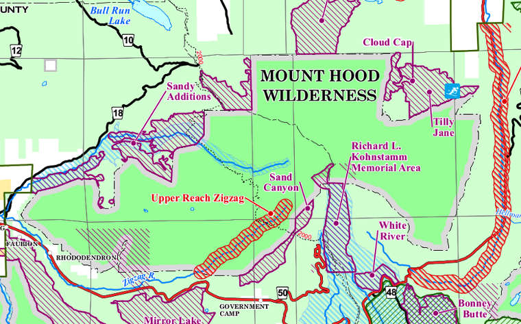 Map of Mount Hood Wilderness