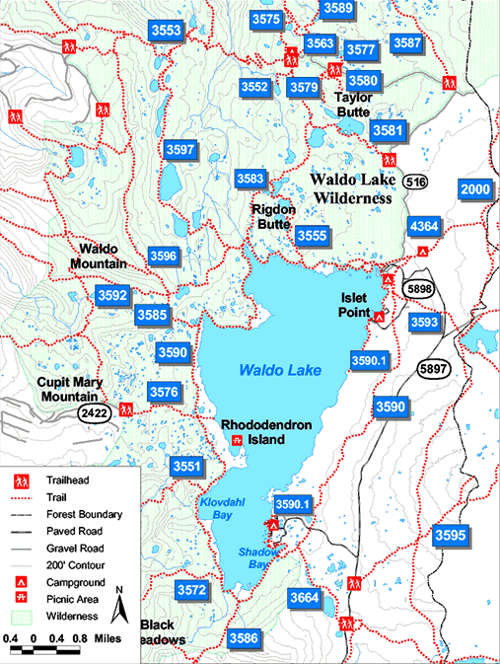 Trail map of Waldo Lake Wilderness