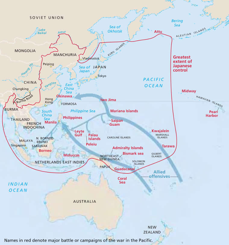 Map showing events in the Pacific Theater of World War II