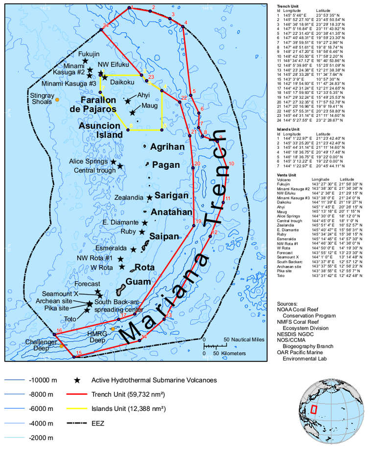 Marianas Trench Marine National Monument area map