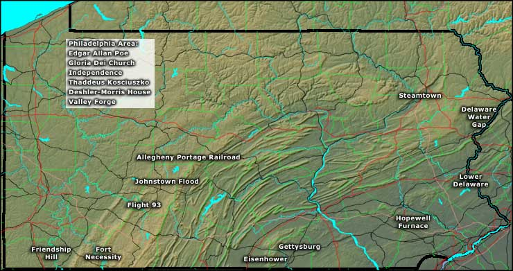 Locations of the National Park Service Sites in Pennsylvania