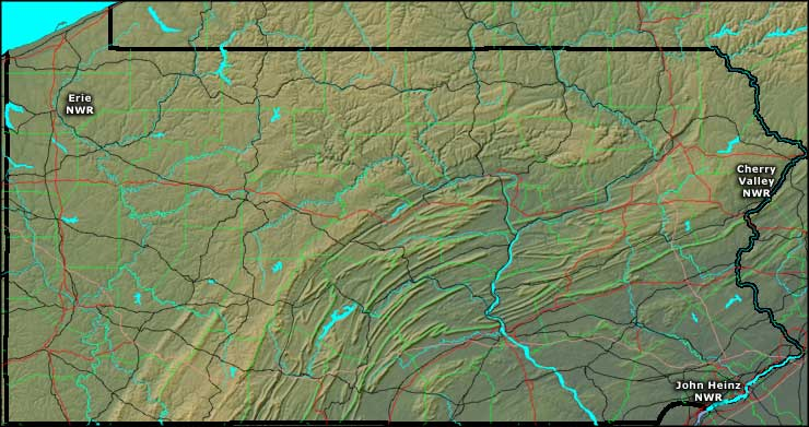 Locations of the National Wildlife Refuges in Pennsylvania