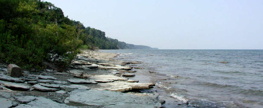 Erie Bluffs shoreline along the Great Lakes Seaway Trail