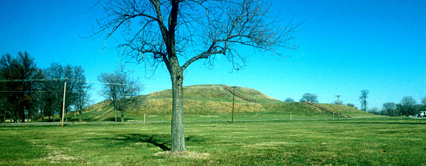 A view of Cahokia Mounds State Historic Site from the National Historic Road