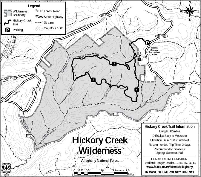 Map of Hickory Creek Wilderness showing the Hickory Creek Trail
