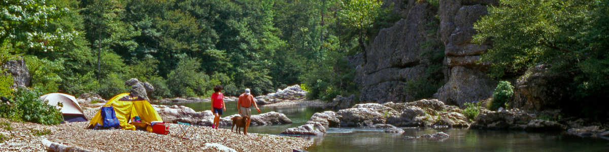 Camping along the Cossatot River in Arkansas