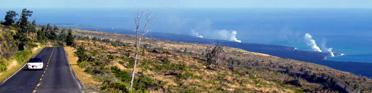 Hawaii: A view of lava flowing to the ocean along the Chain of Craters Scenic Byway