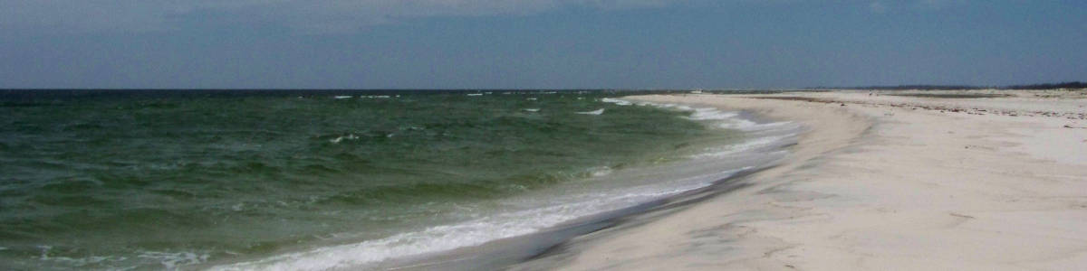 Mississippi: A view of Horn Island's southern beach area in the Gulf of Mexico
