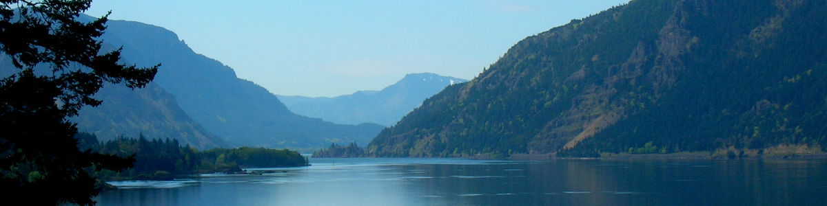 Oregon: A view to the west in the heart of the Columbia River Gorge
