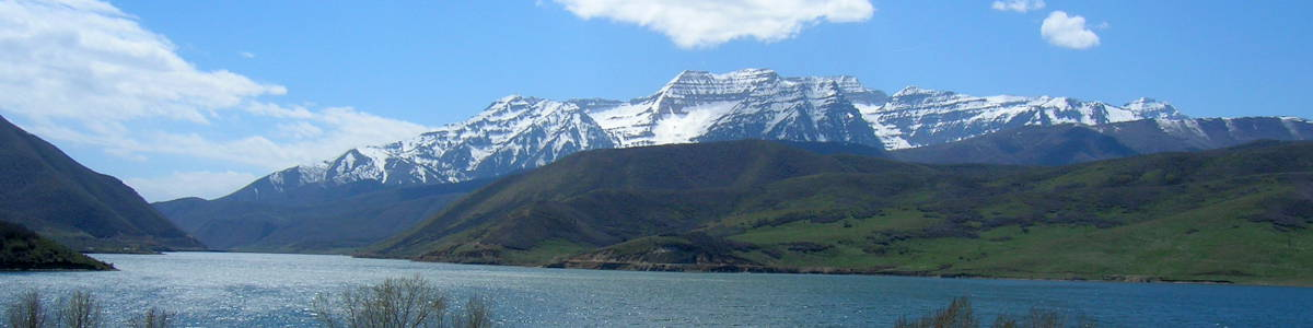 Utah: A view of Mount Timpanogos across Deer Lake