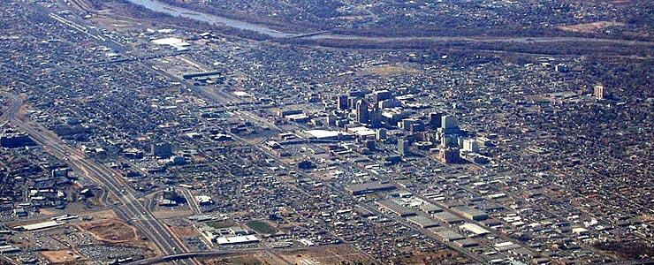 An aerial view of Albuquerque